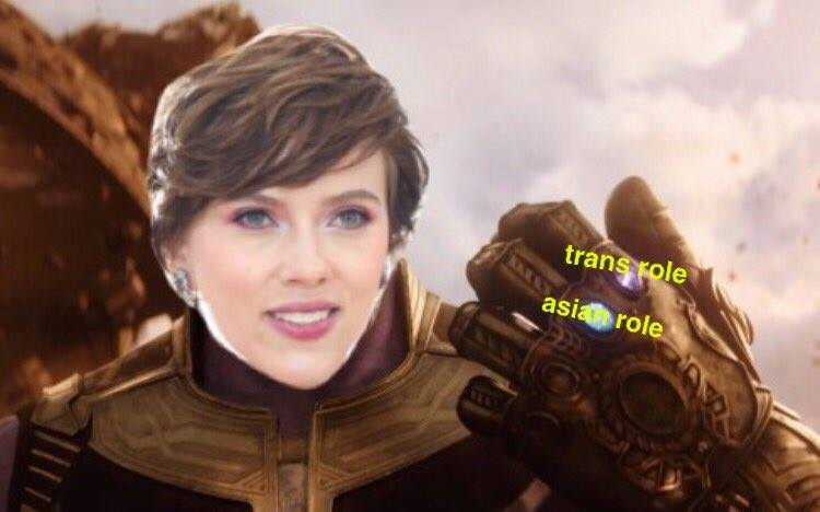 Image: Scarlett Johansson collecting all the privilegestones | Meme published by Alexi Lebedev; Facebook; 4 July 2018