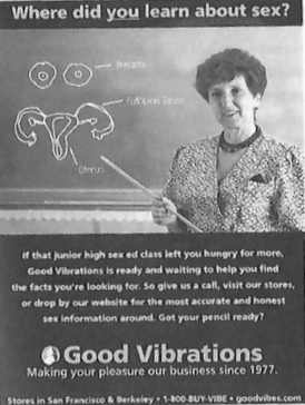 An ad from the August-September 2001 issue of   On Our Backs  , source:   Vibrator Nation