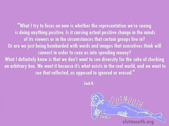 """Read the full article """"Navigating Representation as a Viewer"""" by Zach B.💕on SlutMouth.org (link in bio) and share your thoughts below.✨"""