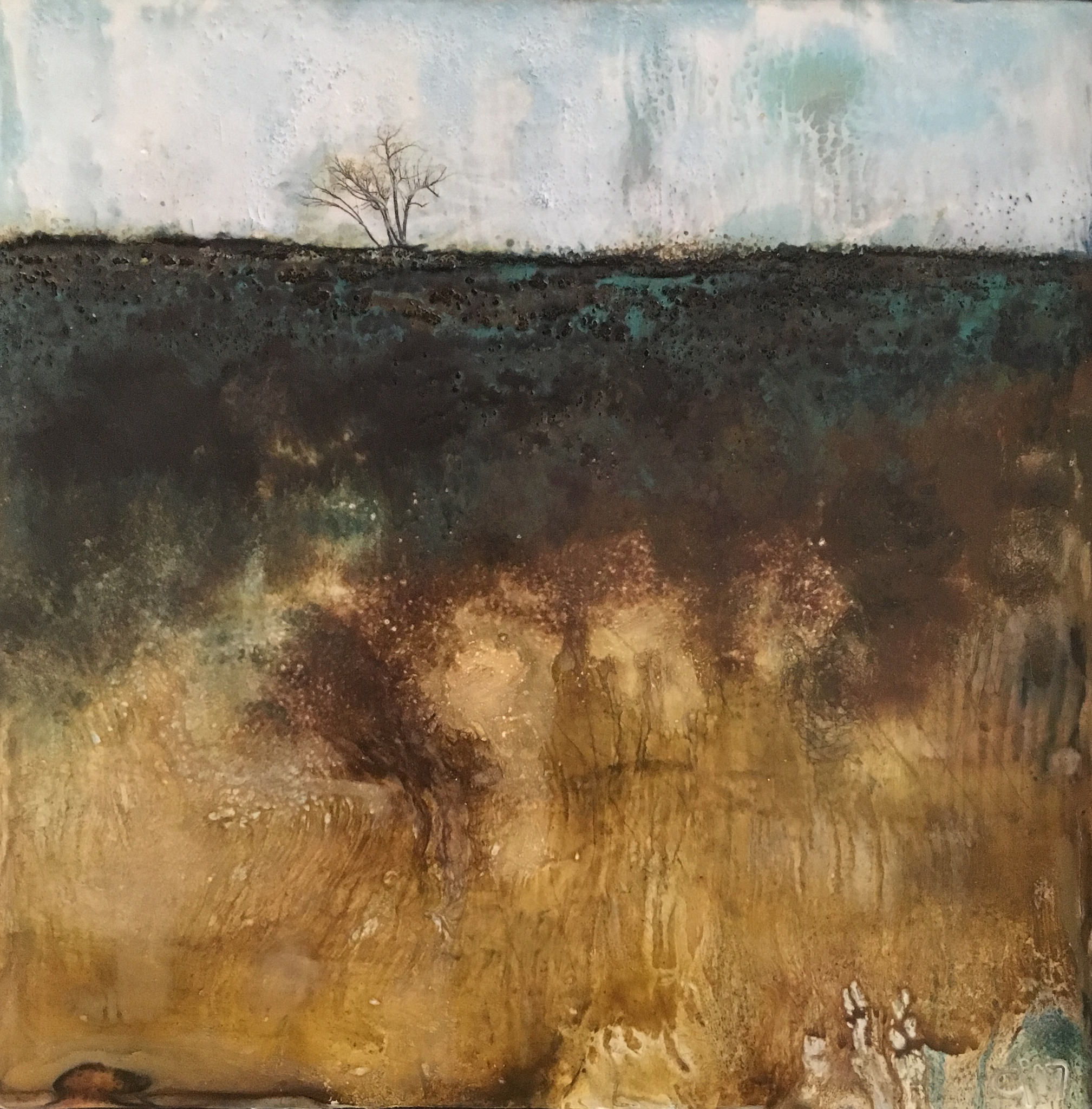 """""""Last Stand""""   8x8"""" framed  encaustic mixed media on board  SOLD  2017"""