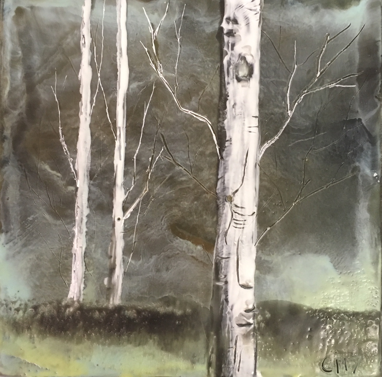 """""""Storm's Comin'""""   4x4"""" unframed  encaustic mixed media on board  DONATED  2017"""