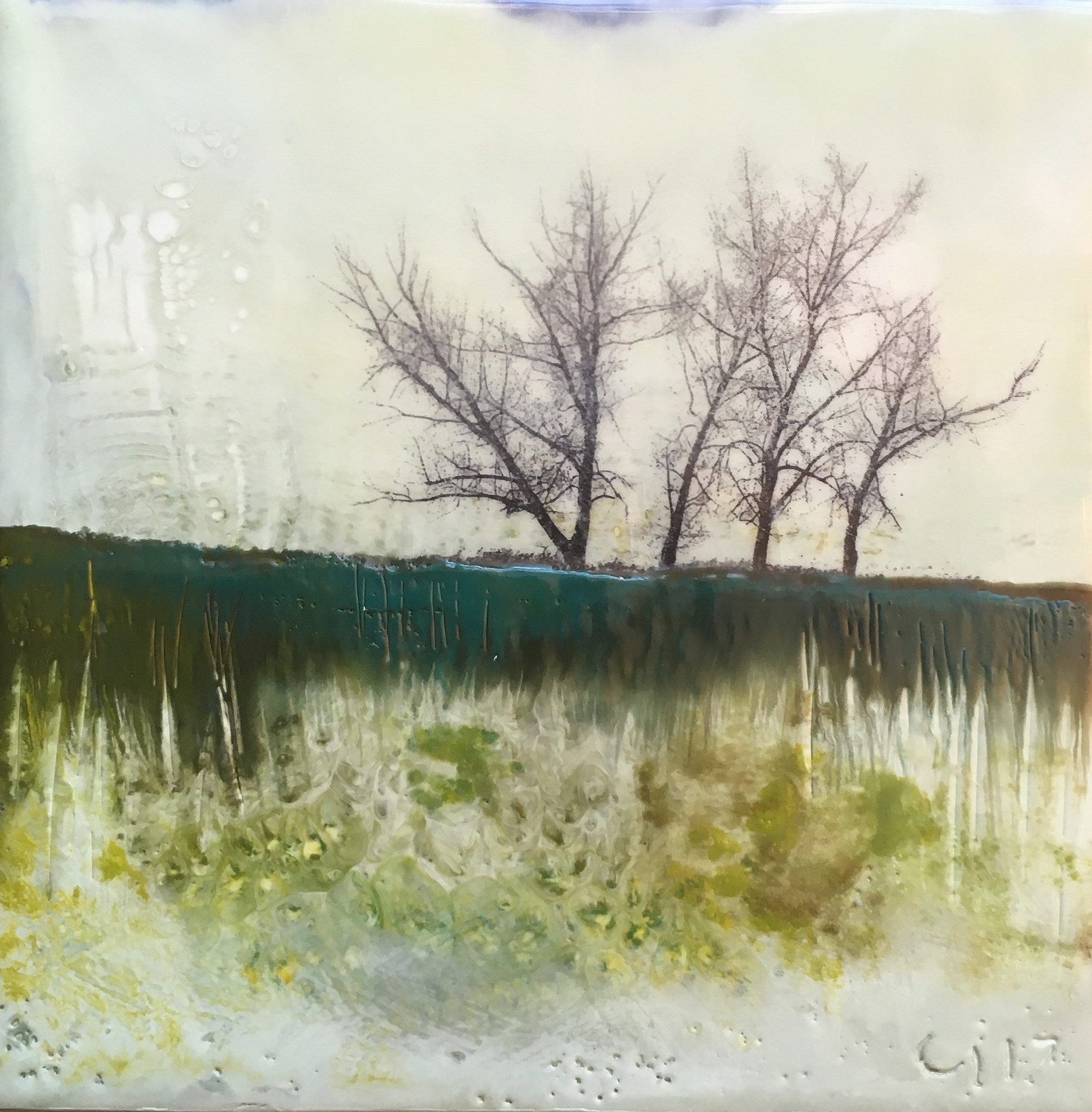 """""""The Stalwarts""""   4x4"""" unframed  encaustic mixed media on board  SOLD  2017"""