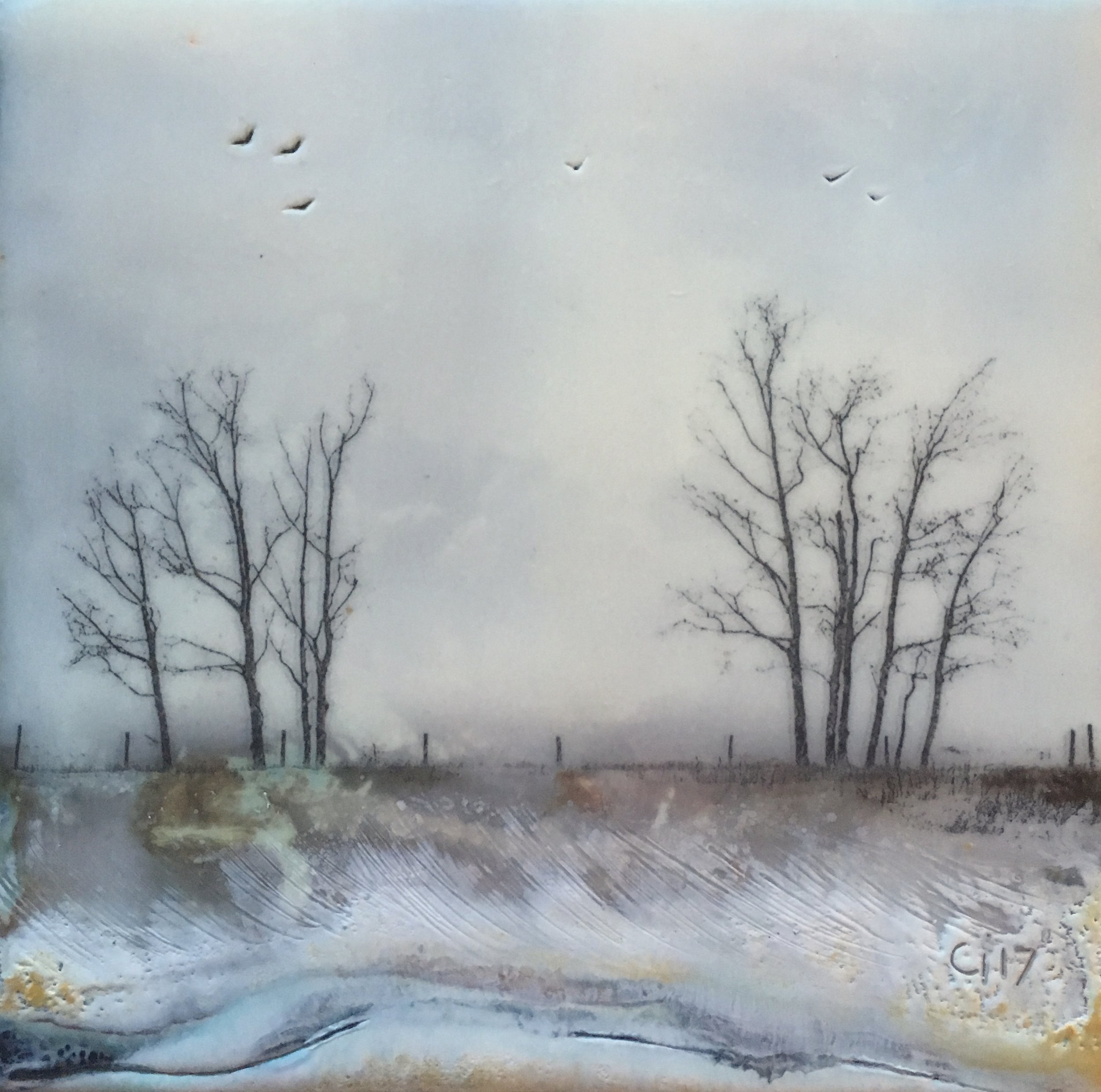 """""""The Trees by our Place""""   6x6"""" unframed  encaustic mixed media on cradle board  SOLD  2017"""