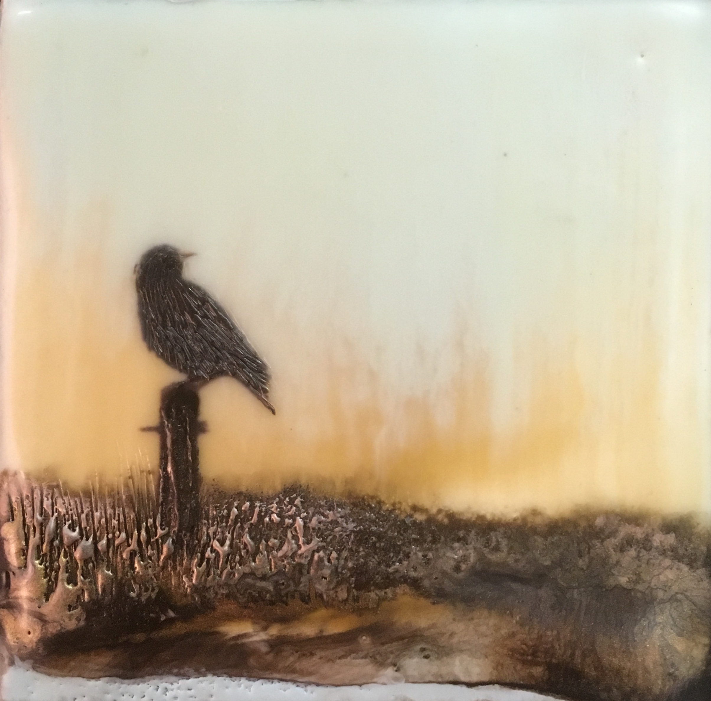 """""""Sunrise for One""""   4x4"""" unframed  encaustic mixed media on board  SOLD  2017"""