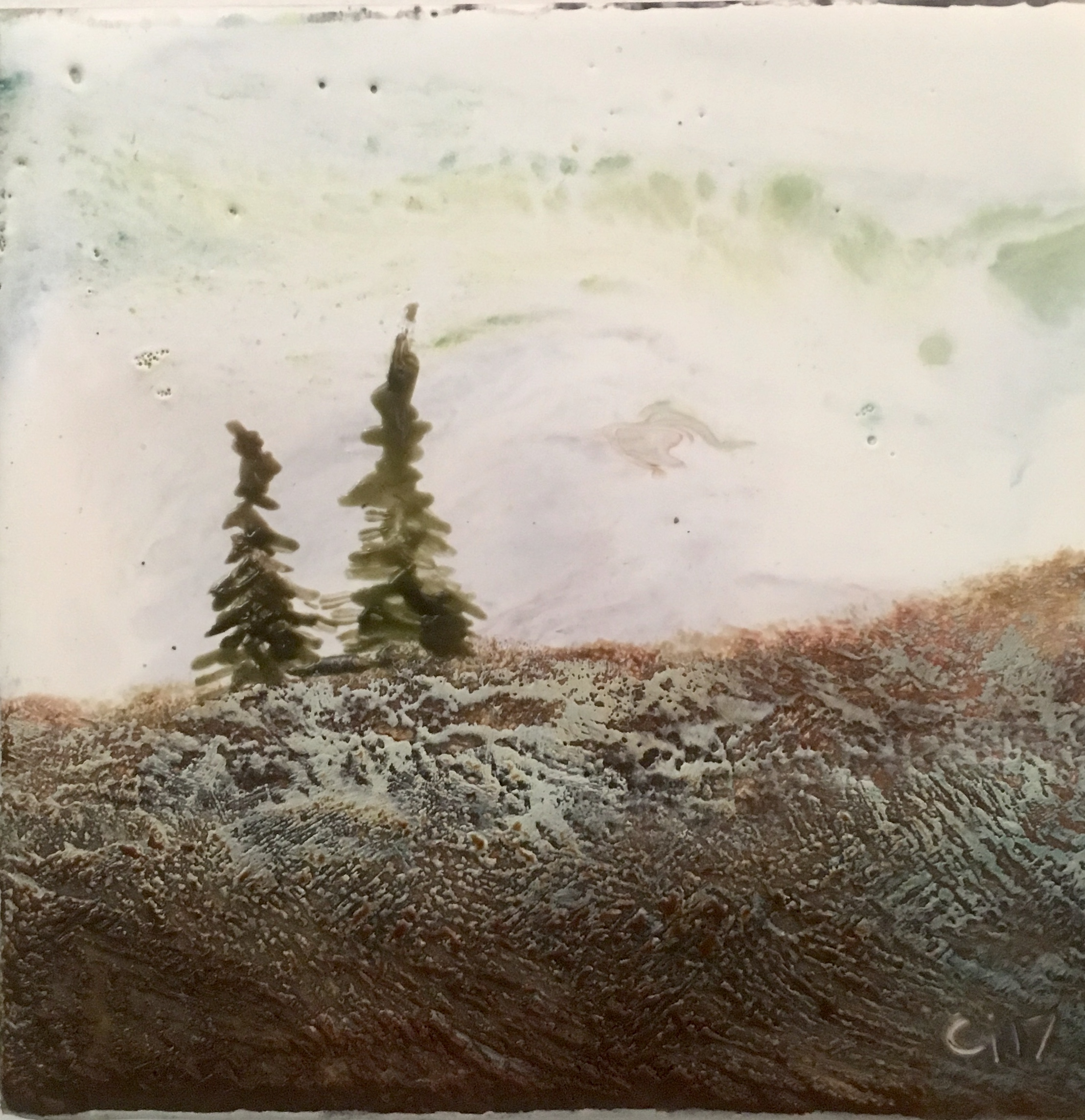 """""""The Ridge""""   4x4"""" unframed  encaustic mixed media on cradle board  DONATED  2017"""