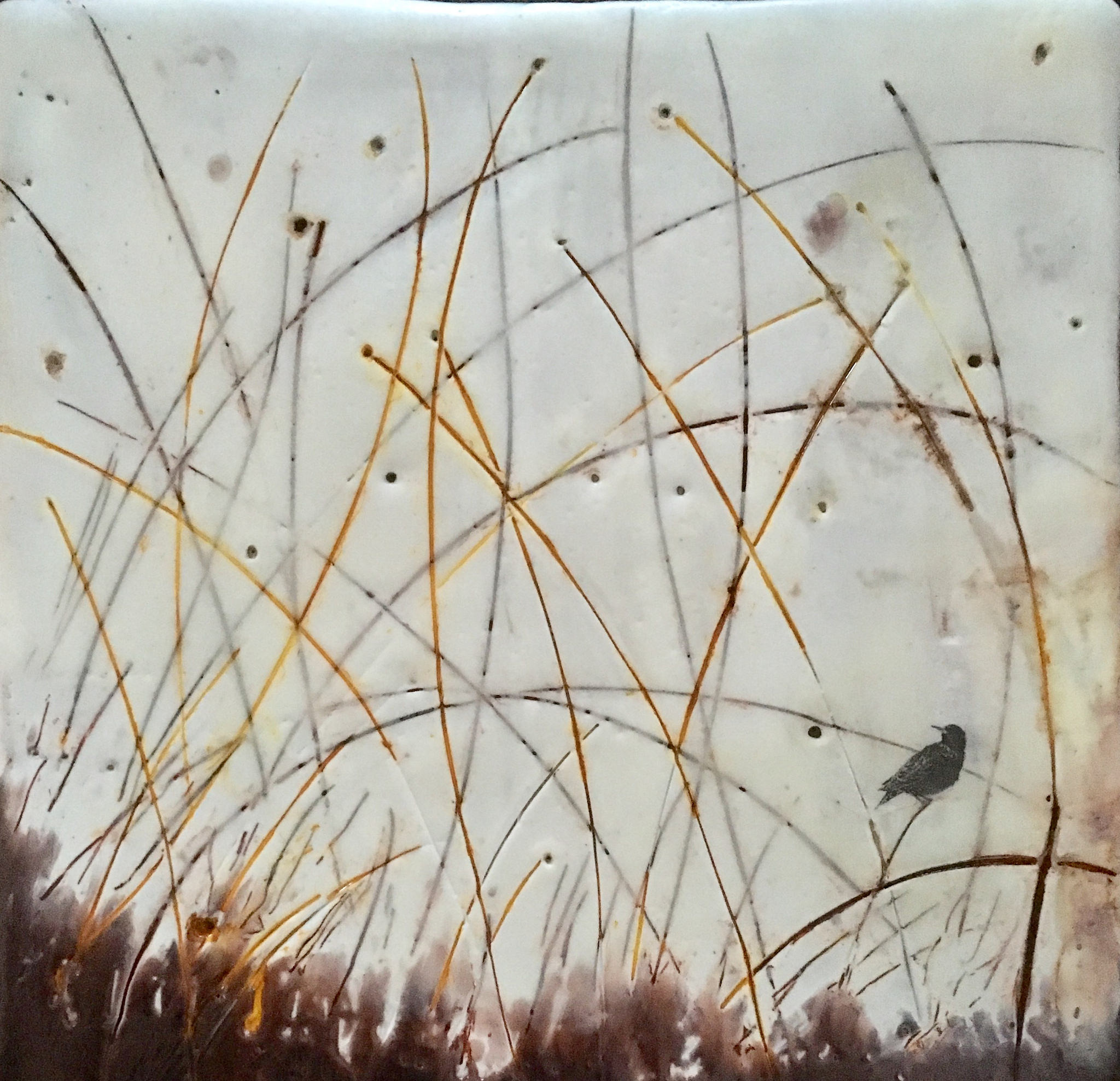 """""""Dreaming of Starlings III""""   6x6"""" framed  encaustic mixed media on board  SOLD  2017"""