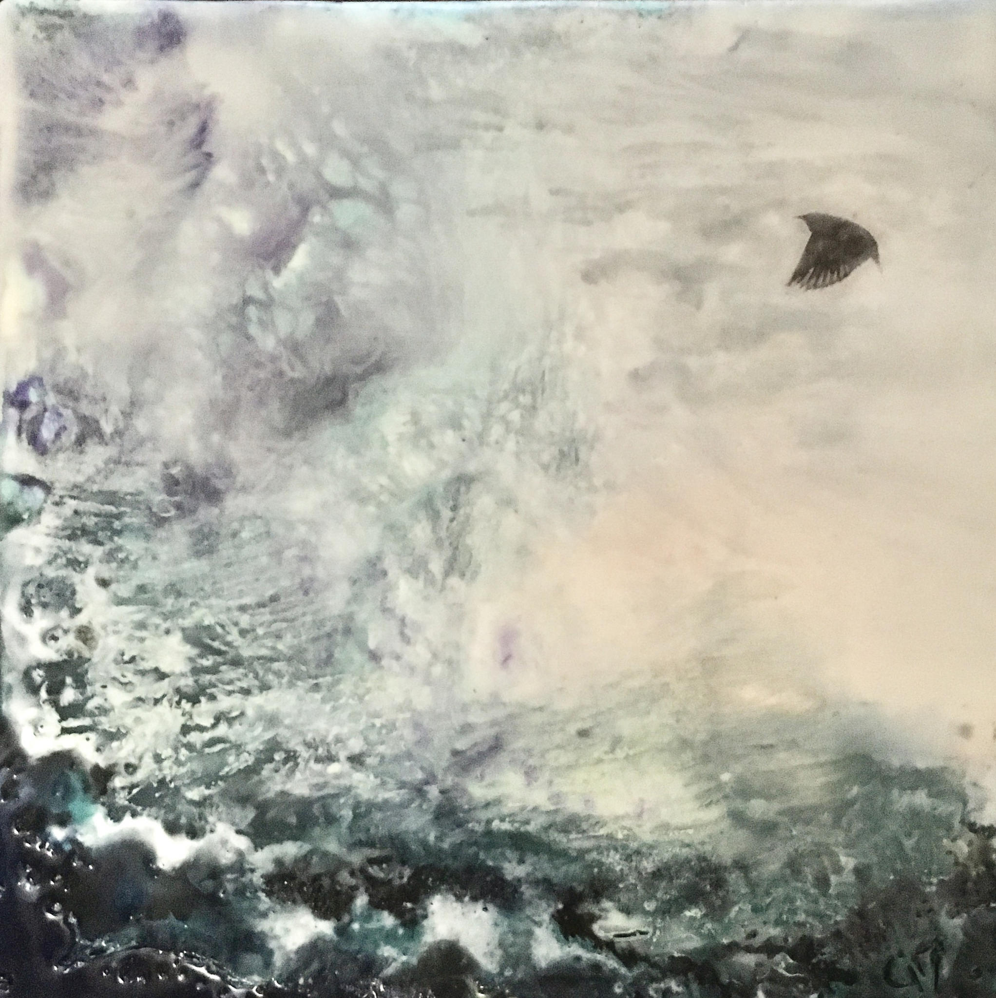 """""""Storm Chaser""""   6x6"""" framed  encaustic mixed media on board  $175 CAD  2017"""
