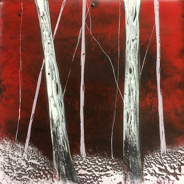"""""""In the Red""""   4x4"""" unframed  encaustic mixed media on board  SOLD  2017"""