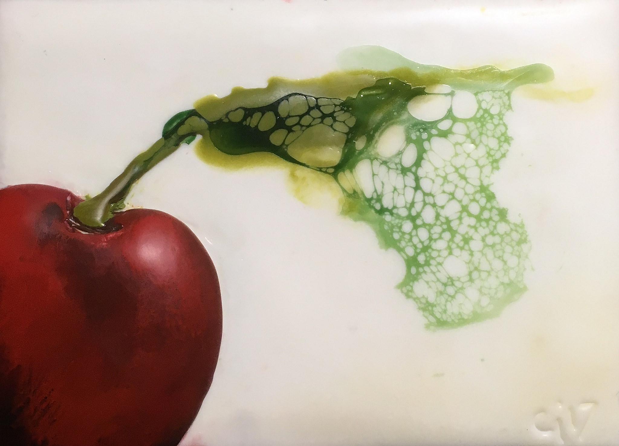 """""""Cherry Red""""   2x3"""" framed  encaustic mixed media on board  SOLD  2017"""