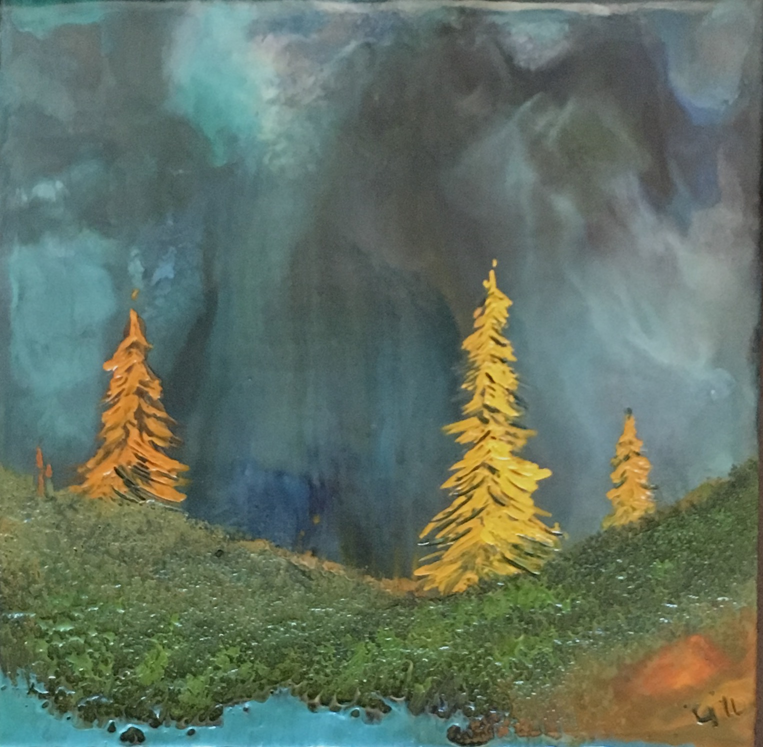 """""""Mountain Larch""""   6x6"""" framed  encaustic mixed media on cradle board  SOLD  2016"""