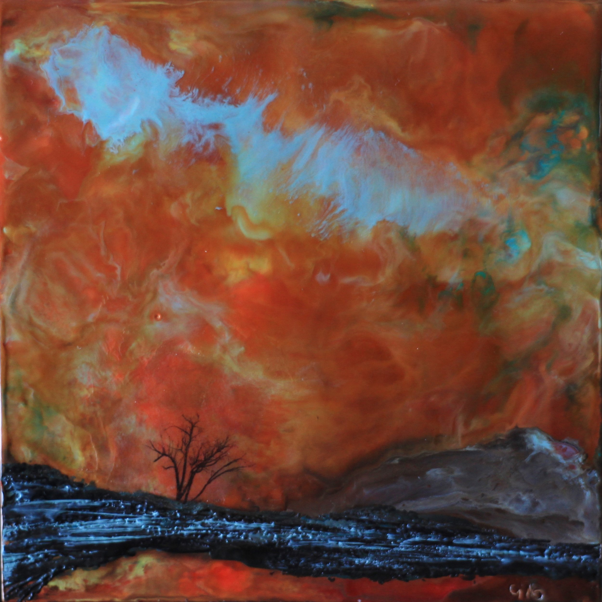 """""""Machination""""   6x6"""" framed  encaustic mixed media on cradle board  SOLD  2016"""
