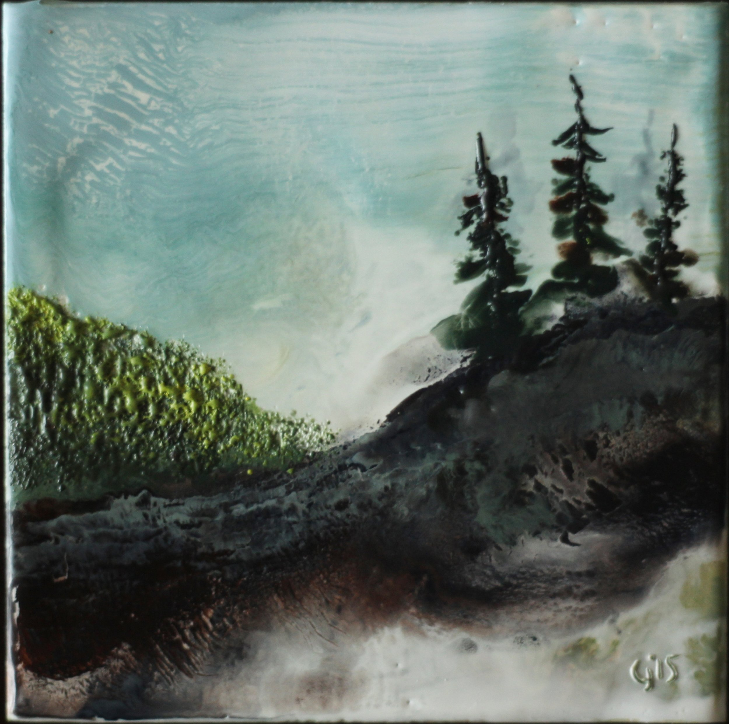 """Out East""   5x5""  encaustic mixed media on cradle board  SOLD  2015"
