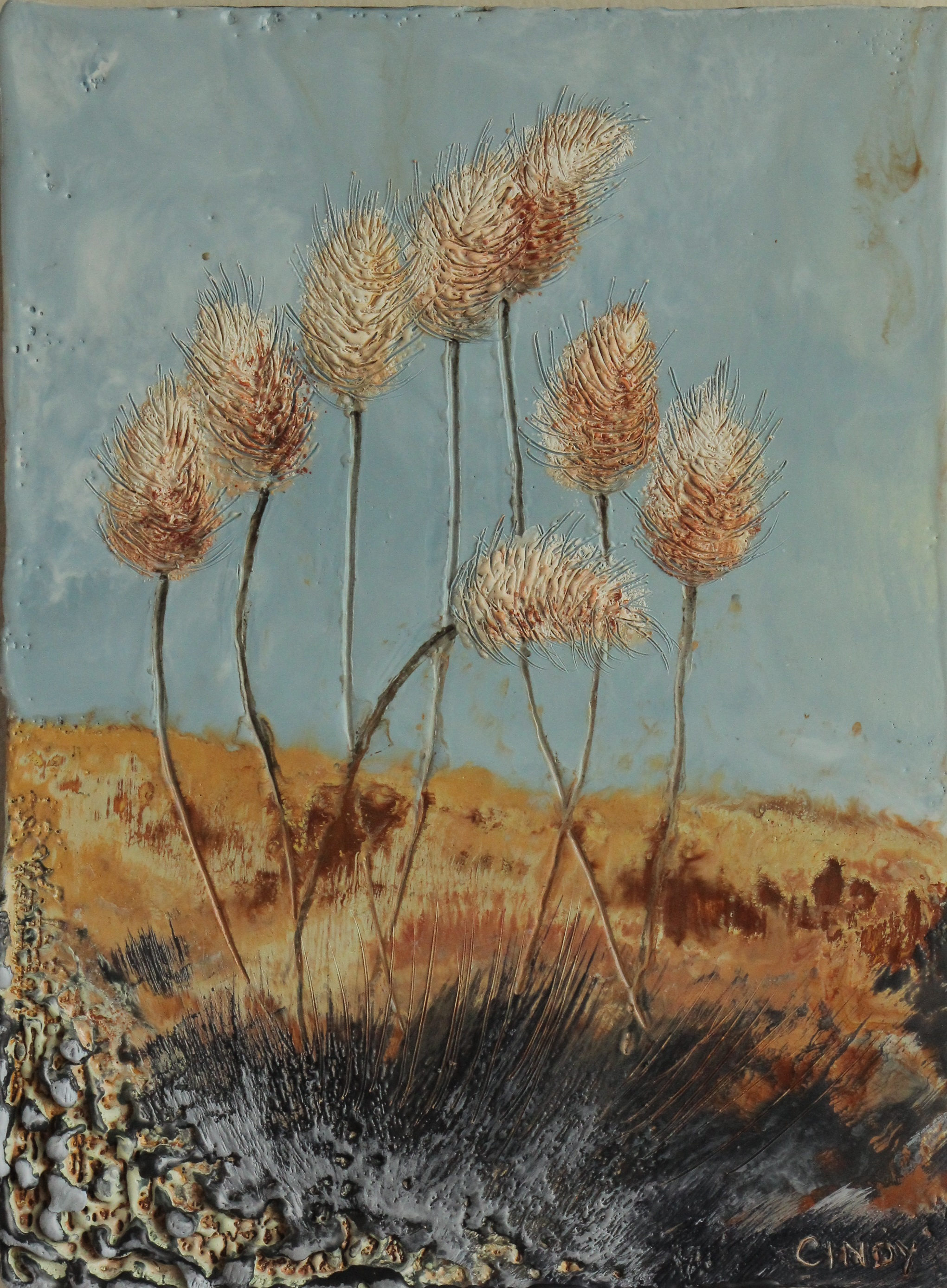 """Bunny Tails""   5x7"" framed  encaustic mixed media on board  DONATED  2014"
