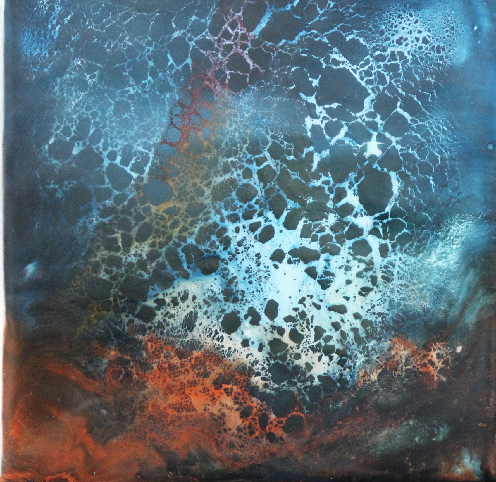 "NO TITLE   6x6"" framed  encaustic mixed media on board  SOLD  2014"