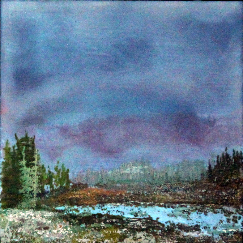 """NO TITLE   6x6"""" framed  encaustic mixed media on board  SOLD  2011"""