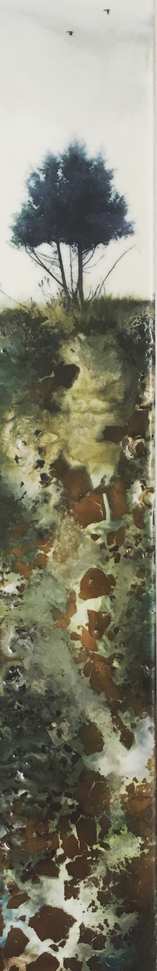 """Deeply Rooted""   3x18"" unframed  encaustic mixed media on cradle board  SOLD  2019"