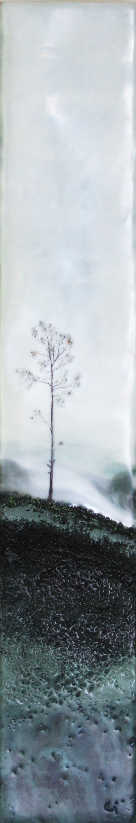 """Lake Effect""   3x18"" unframed  encaustic mixed media on cradle board  $225  2019"
