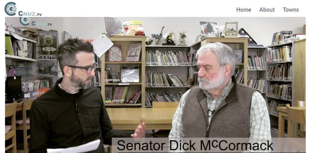 Interviewing State Senator Dick McCormack about education for community television (2017).