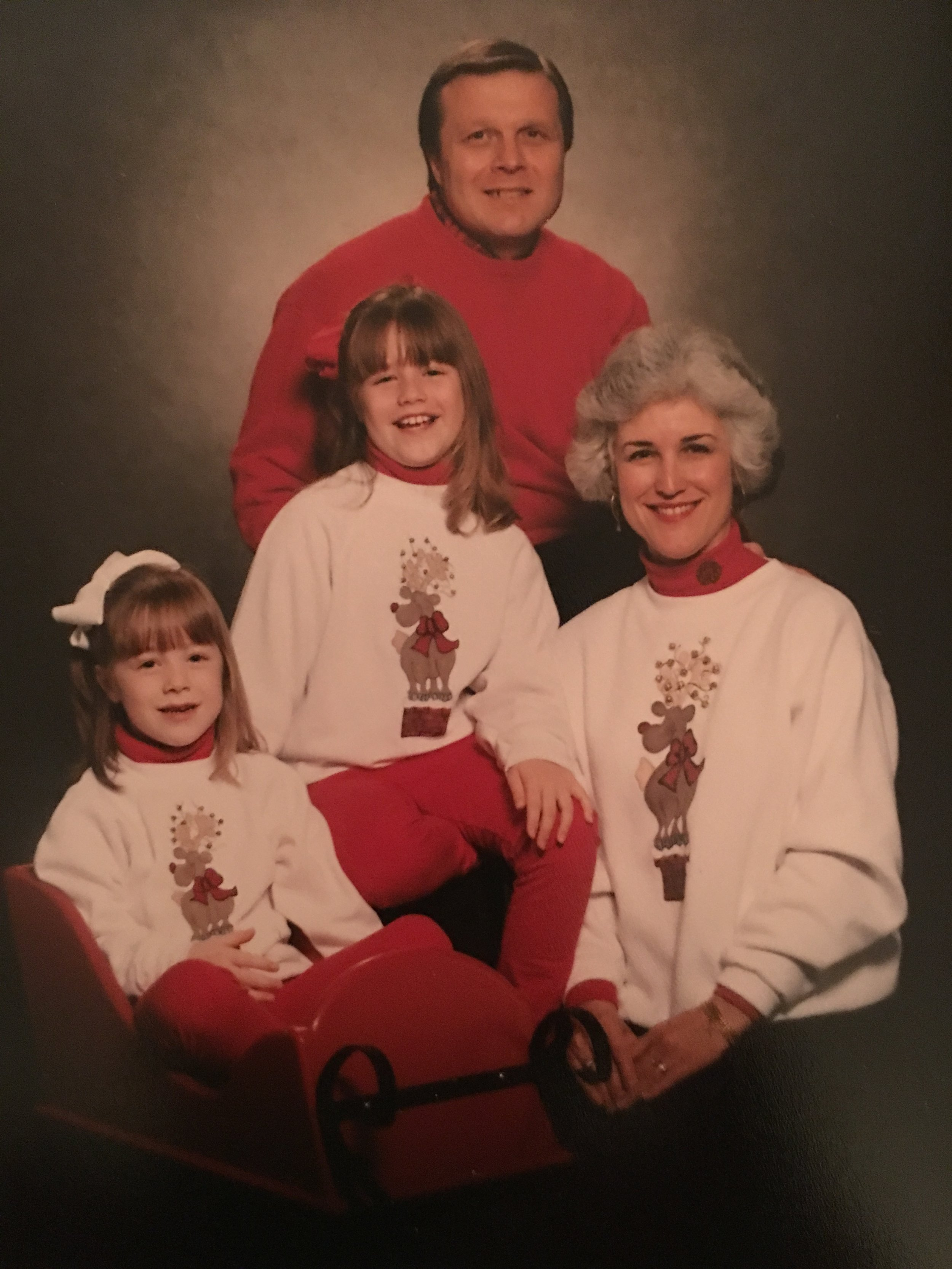 And, of course, the family Christmas photo required hand-painted reindeer sweatshirts. This was also post my first perm.