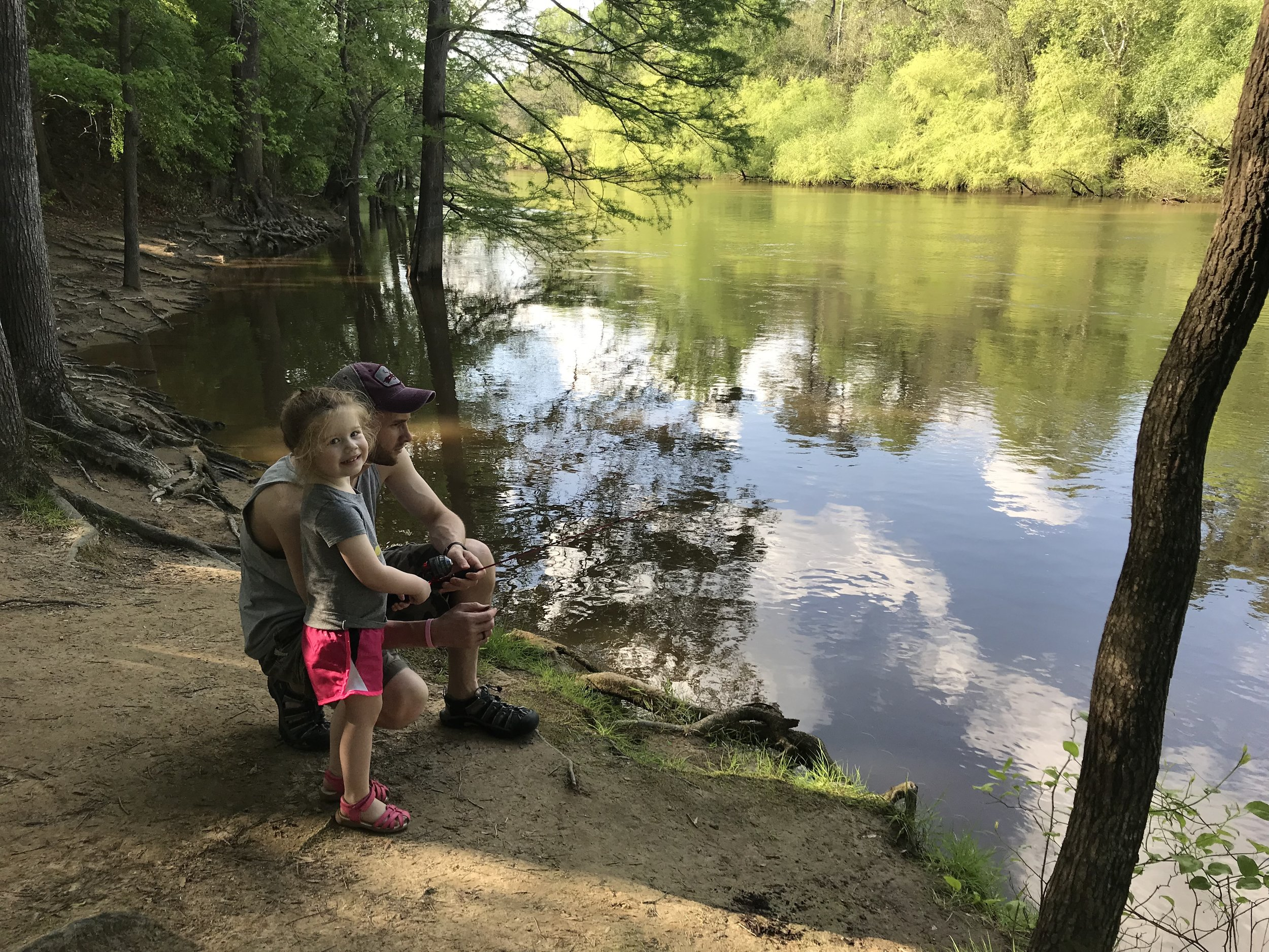 Carl and Elin fishing in the Neuse River.