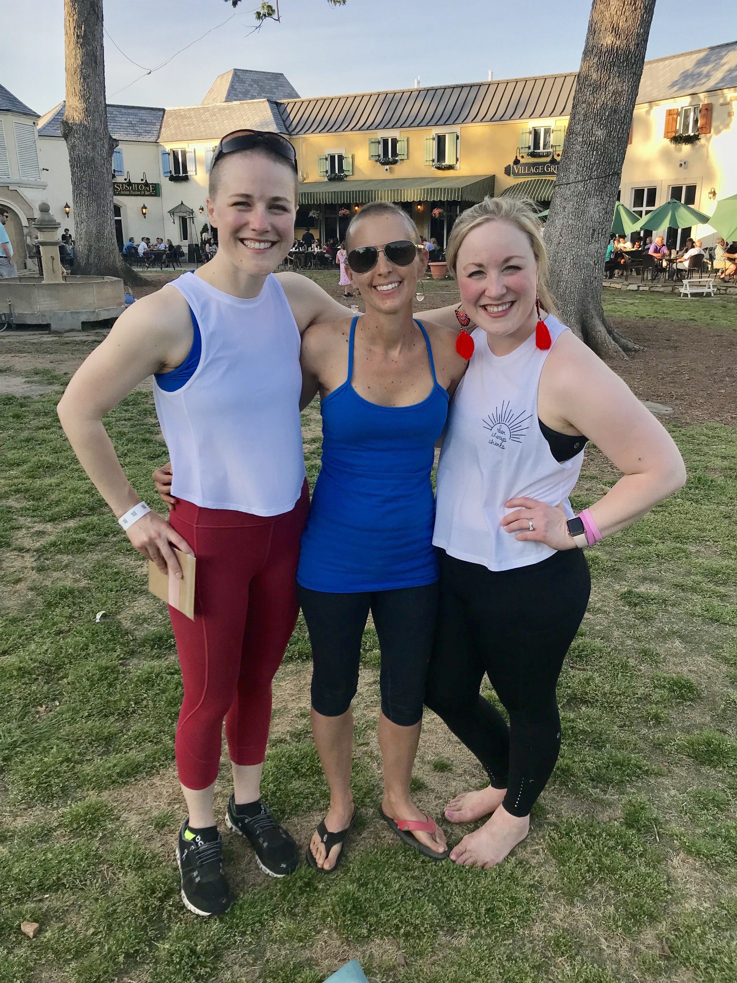 Tracy and I met at a yoga studio and hadn't seen each other in years until we both learned we were going through breast cancer. She's ahead of me in the process and has provided so much support as I start my treatments.