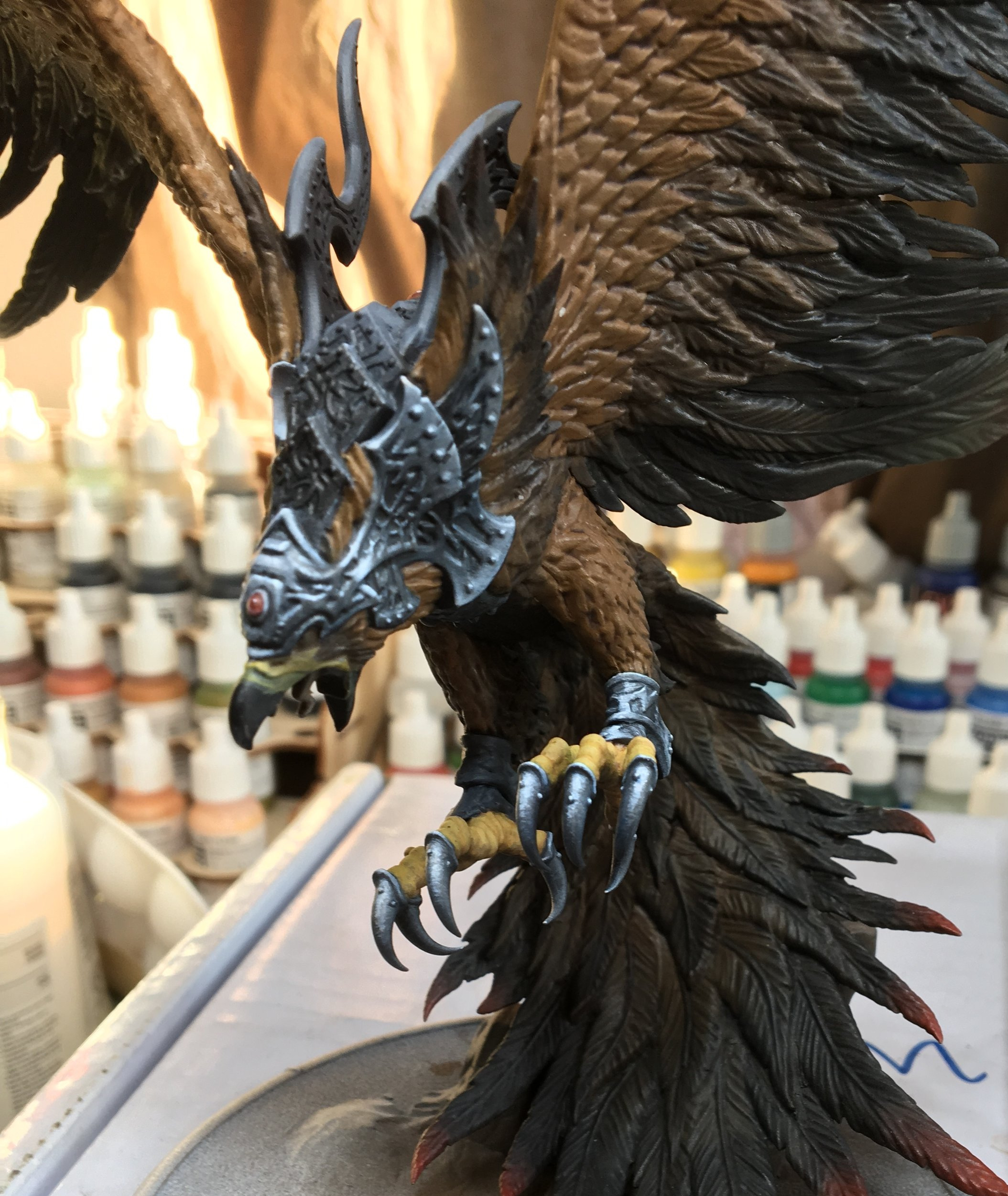 This is my 3rd start on this model after starting over from black. If I ever have time to work on this model again I will probably start over again on everything but the claws.