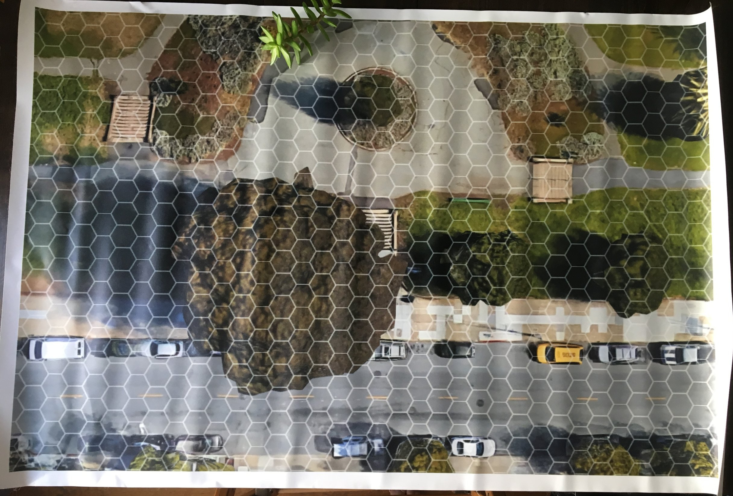 An early prototype of our hex playmat. We scoured Google Earth images of SF looking for suitable areas to fit our scenarios.