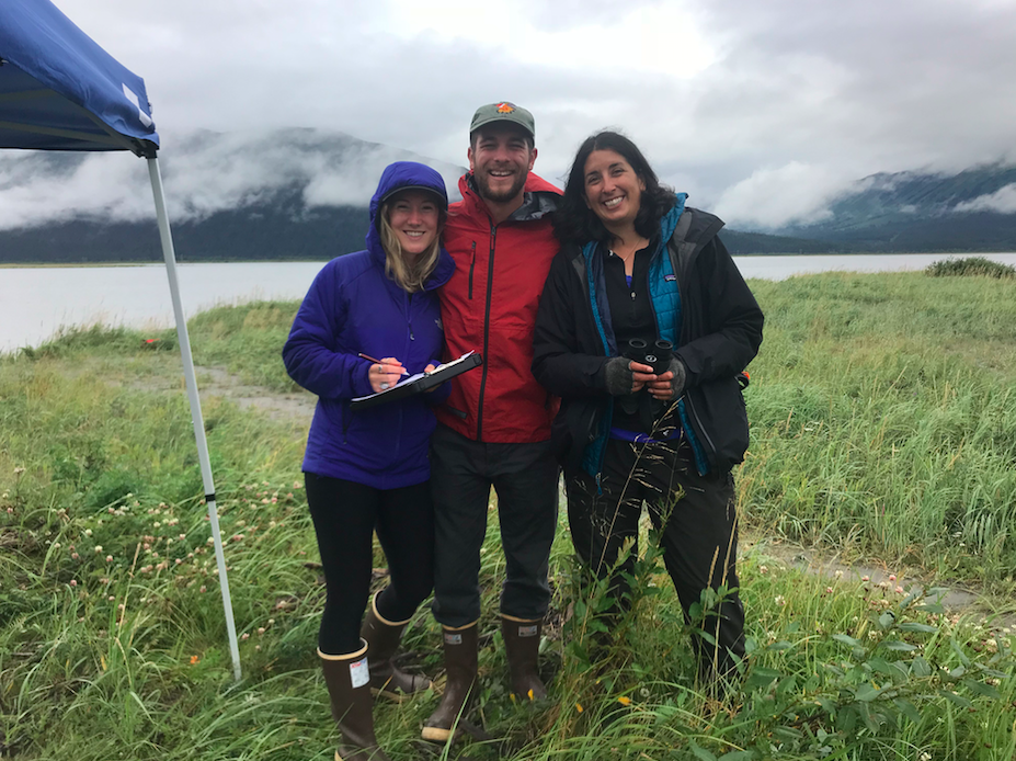 BWA volunteers conducting a beluga monitoring session in September 2018 with Amber Stephens of the Cook Inlet Beluga Whale Photo-ID Project. |  © Beluga Whale Alliance