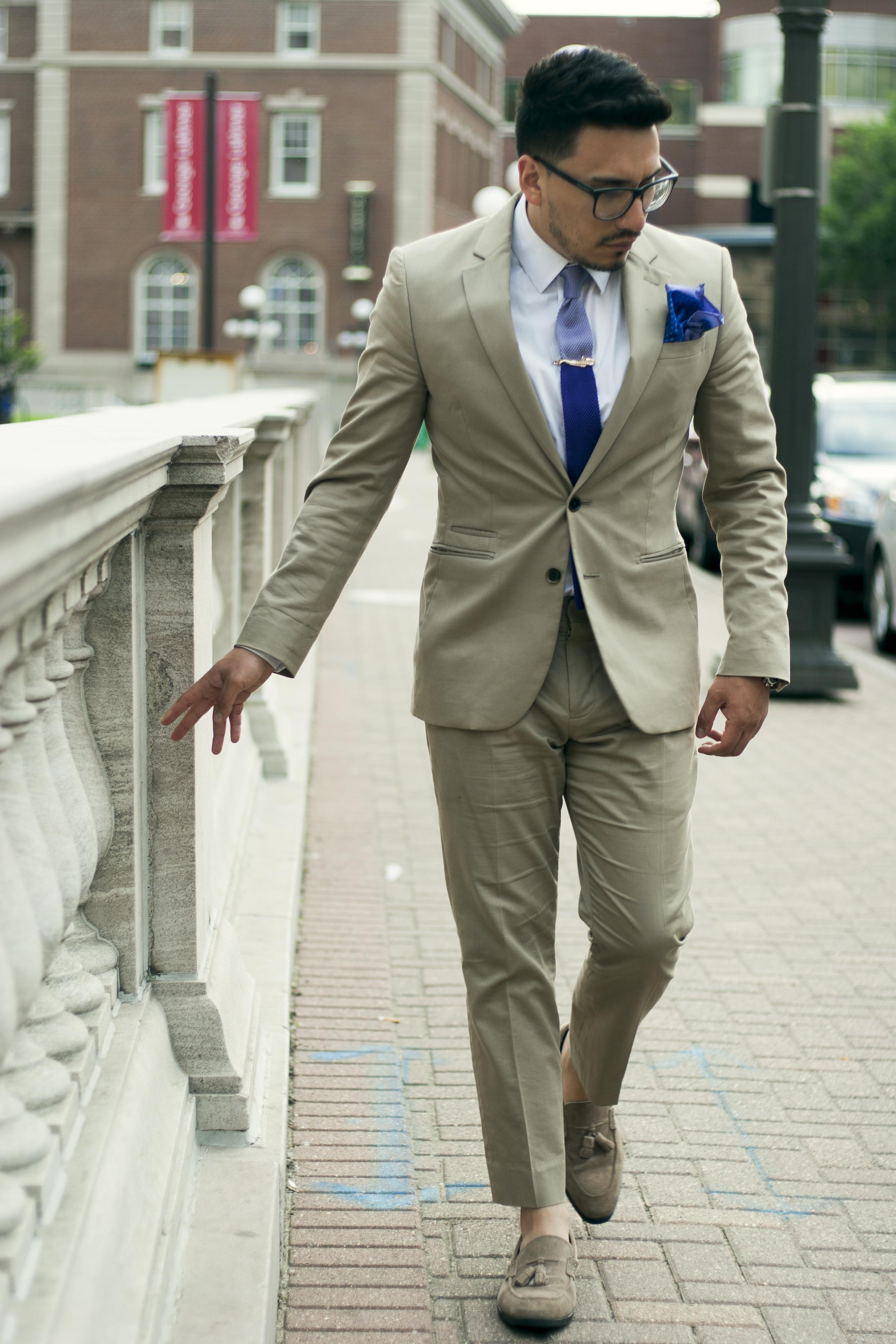 Khaki Suit for summer wedding