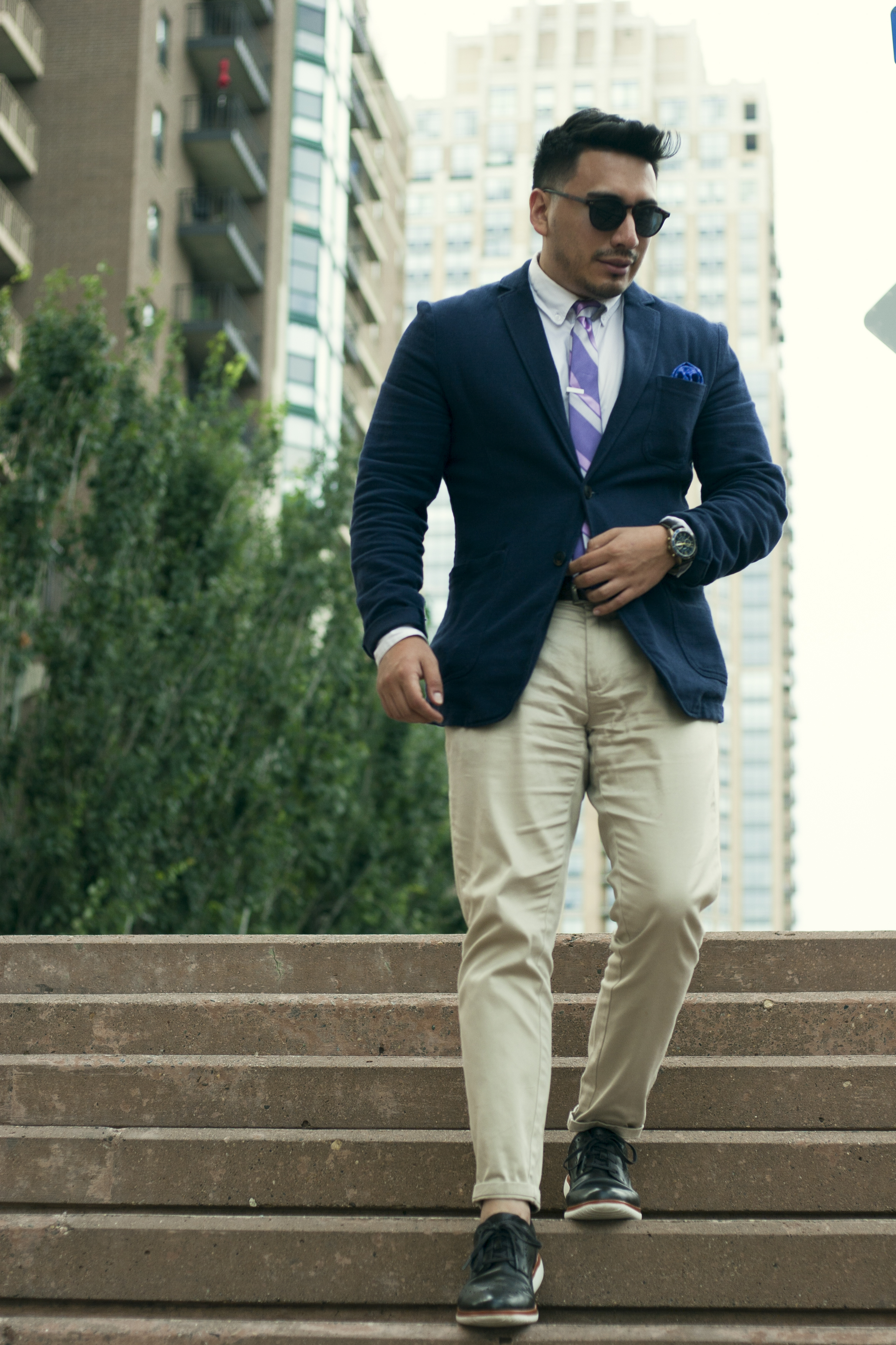 chinos suit jacket rockport shoes tie men