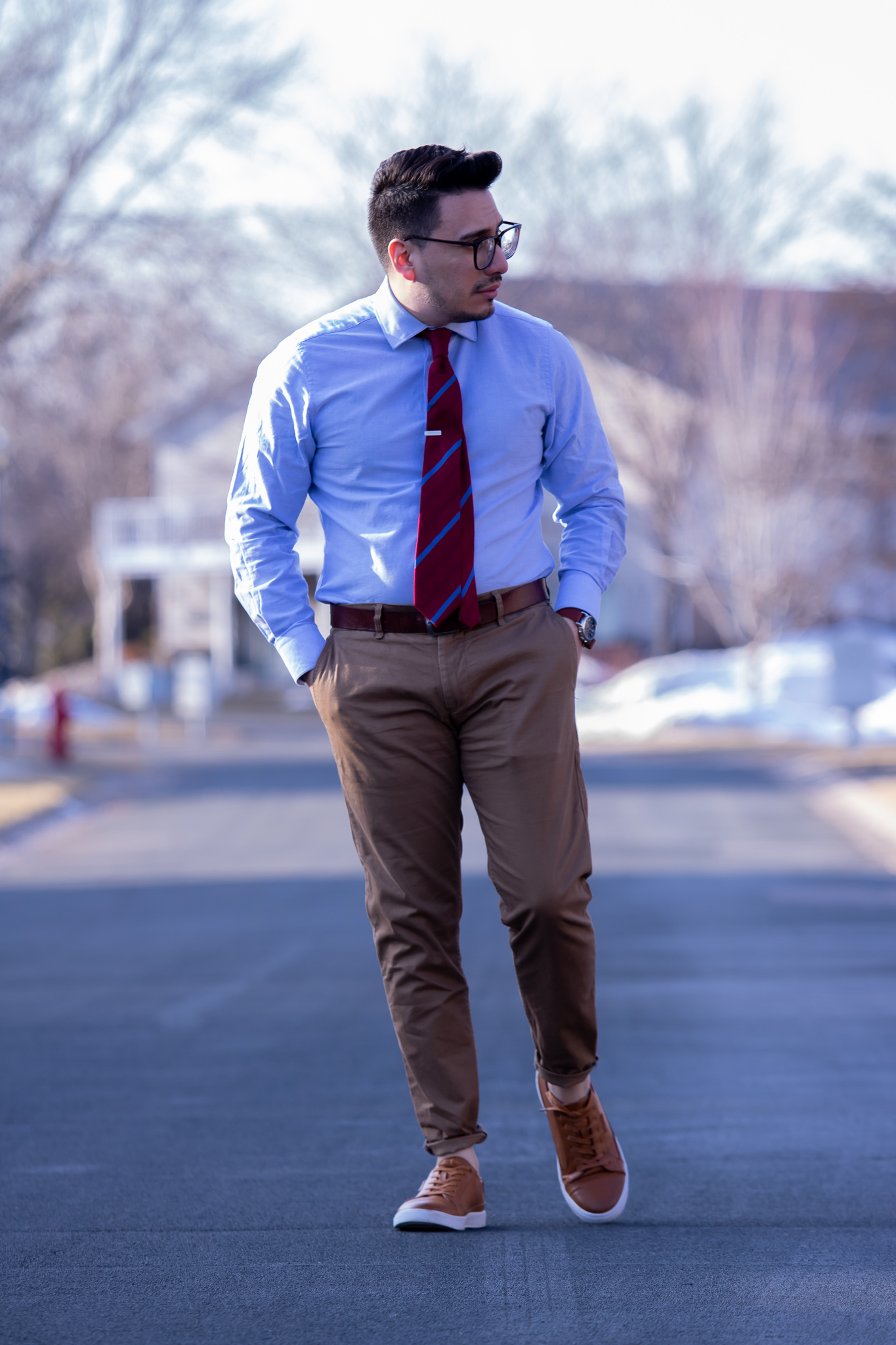 brown leather sneakers with blue oxford and tie