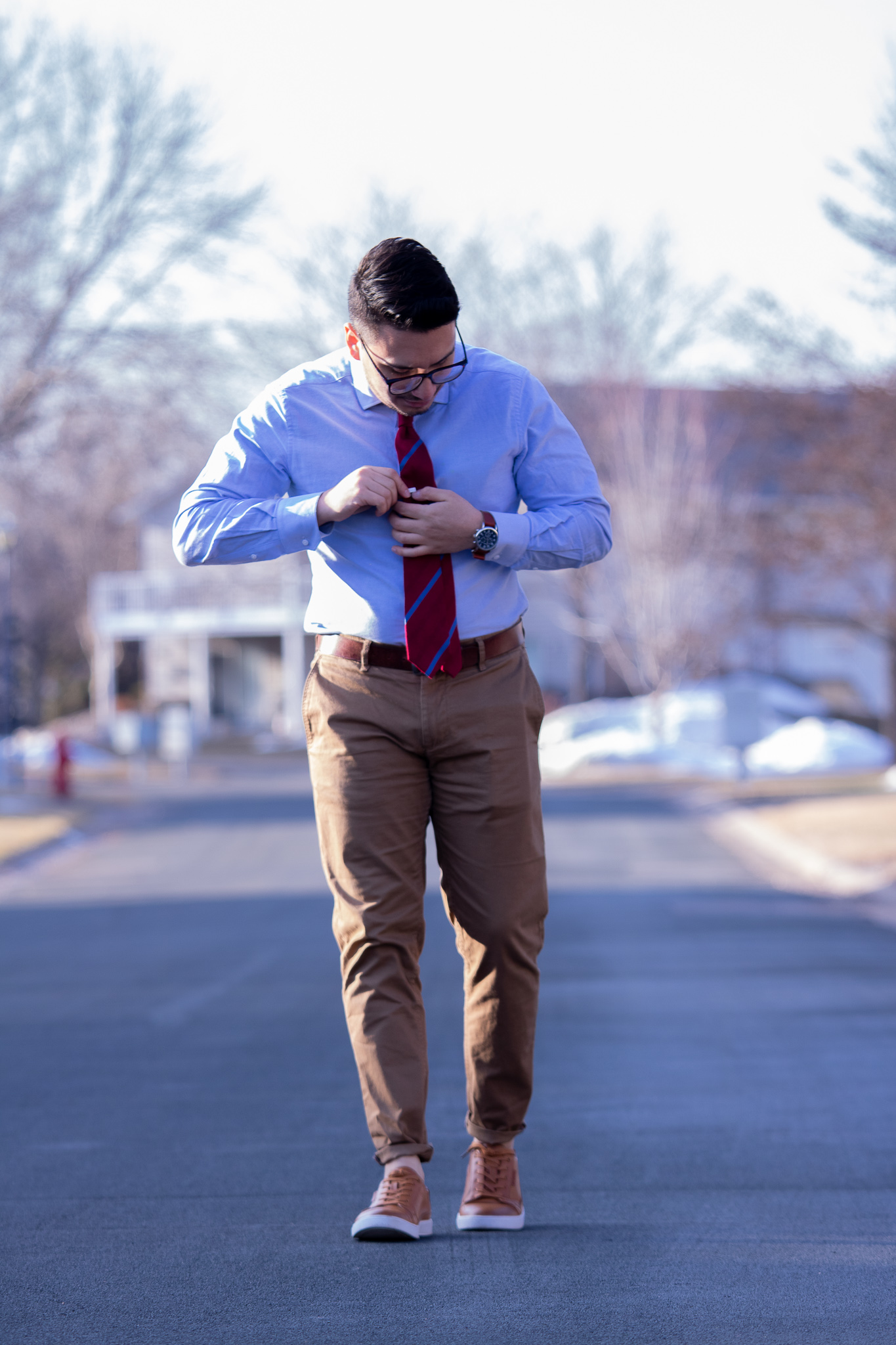 brown leather sneakers with khakis and blue oxford shirt