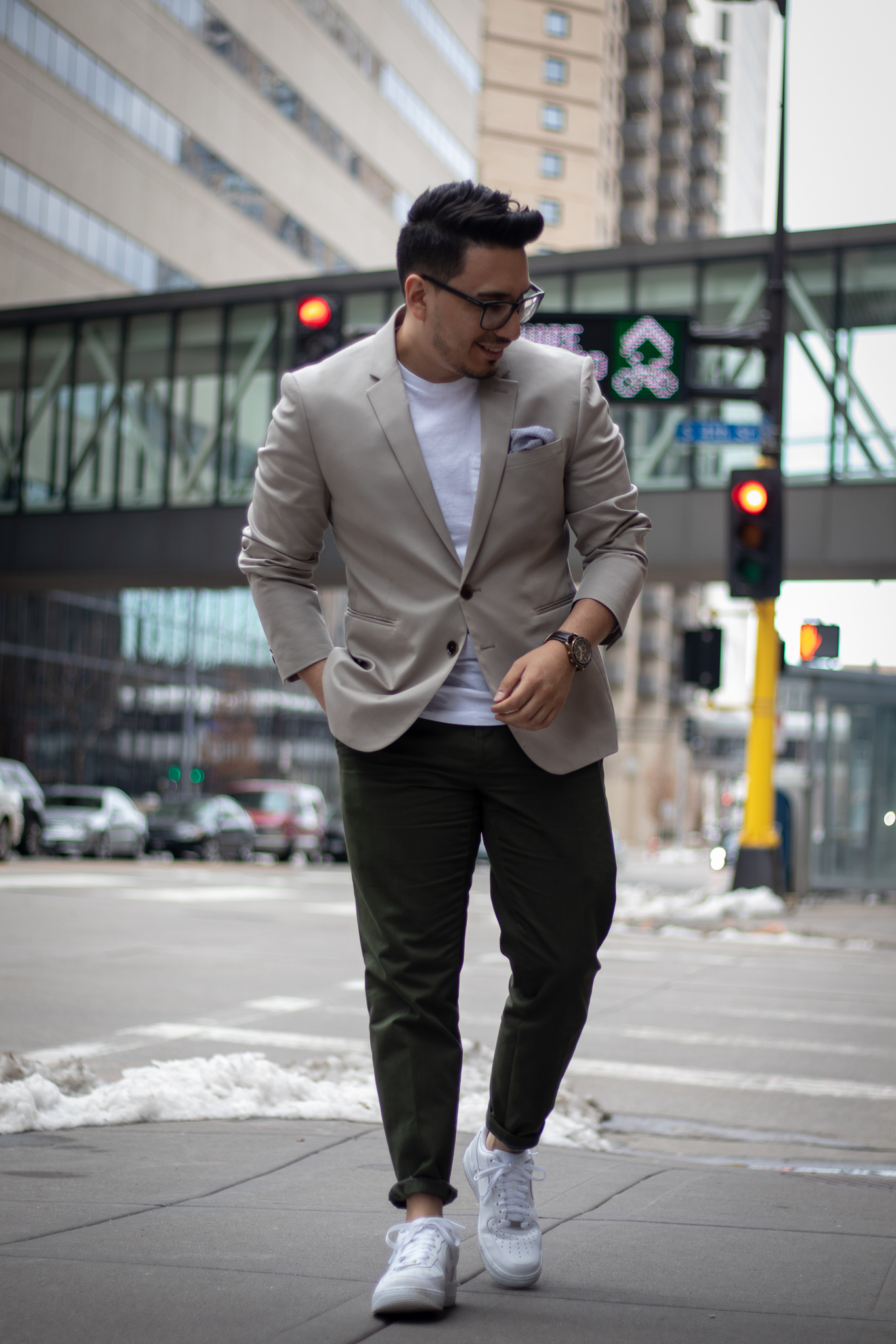 Express Khaki Cotton Suit Jacket with Green Chinos