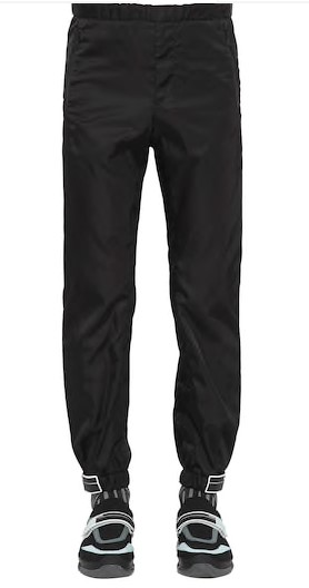 prada nylon gabardine track pants