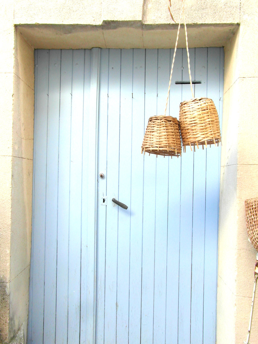 Two vintage demijohn baskets transformed into a pendant lights, by Vintage French Dream in France. Reminding us, of this simple DIY project :) - $55, from France