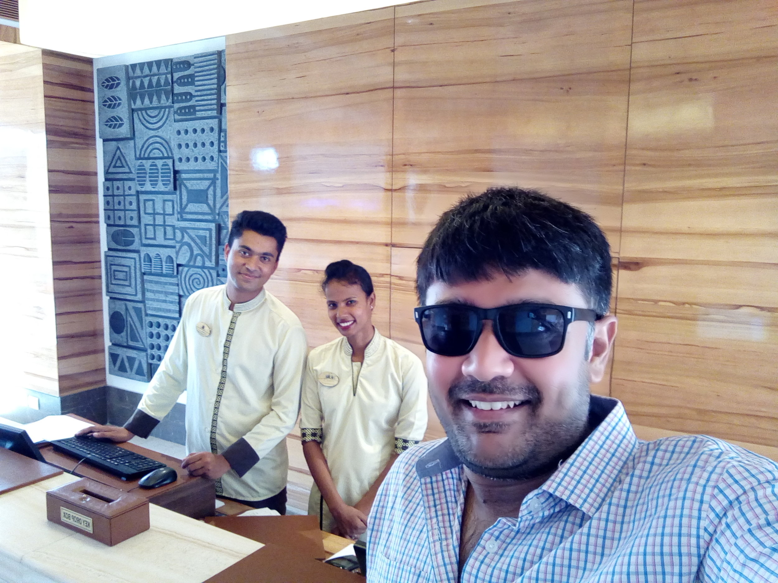 Selfie with the receptionists (both are siblings)