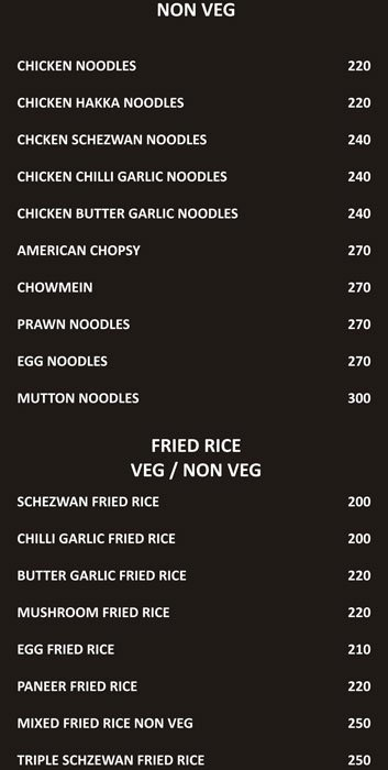 Food Menu Rice and Noodles | NH7 Refuel Restaurant | Bangalore Highway