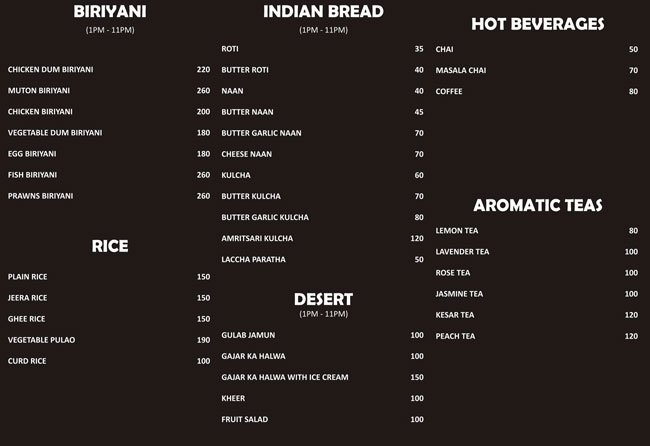 Food Menu Breads, Biriyanis, Tea, Rice, Desserts | NH7 Refuel Restaurant | Bangalore Highway