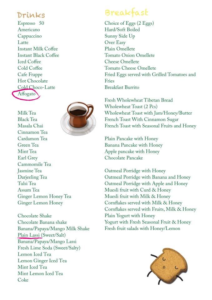 Garden Cafe Menu 2 | Bir Billing | PritishSocial Travel Food Blogger
