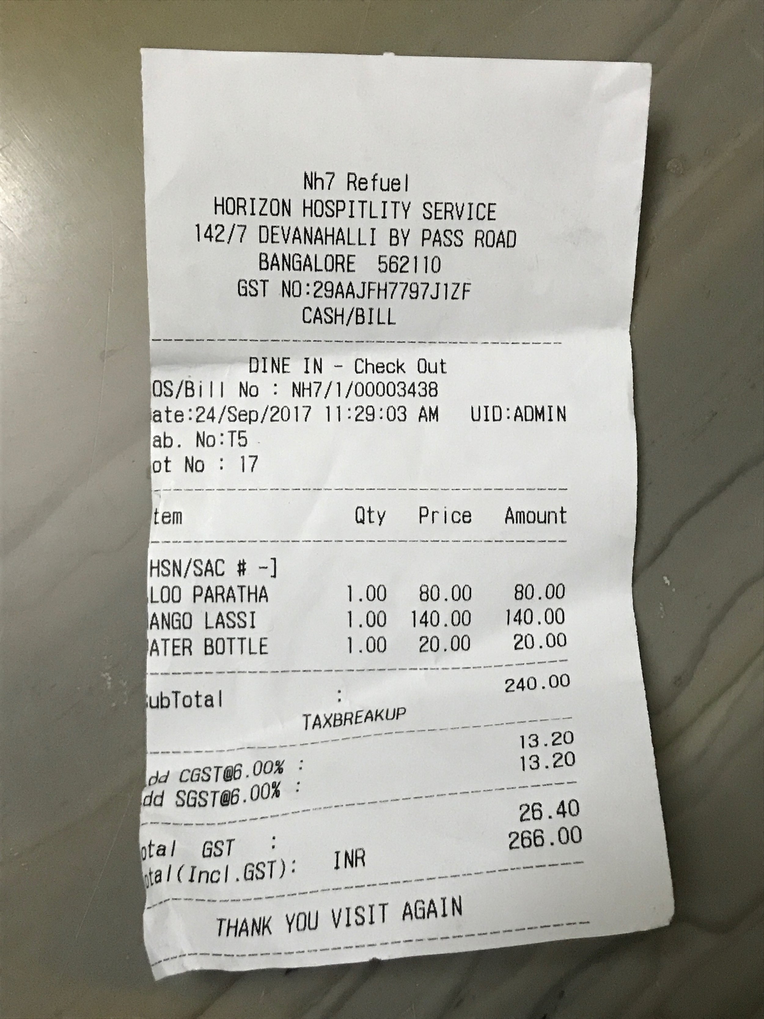 NH7 Refuel Restaurant Bill | Bangalore Highway