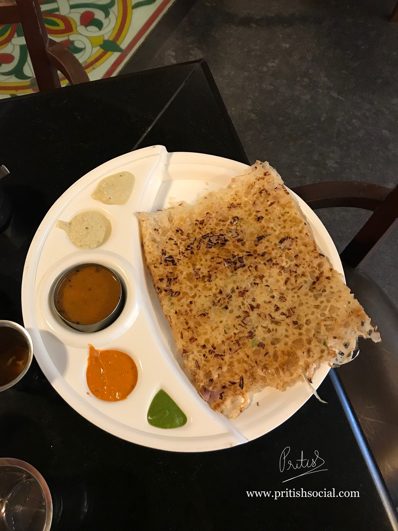 Onion Rava Masala Dosa with Sambar and Chutneys