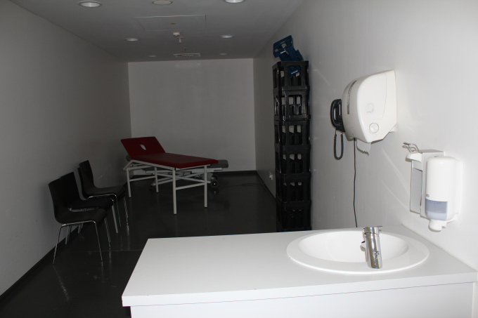 Inside the players' massage room