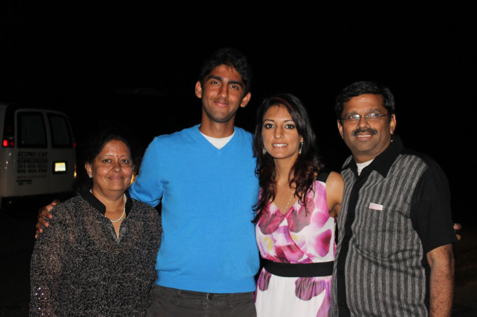Rasika Shekar with her mother, father, and brother