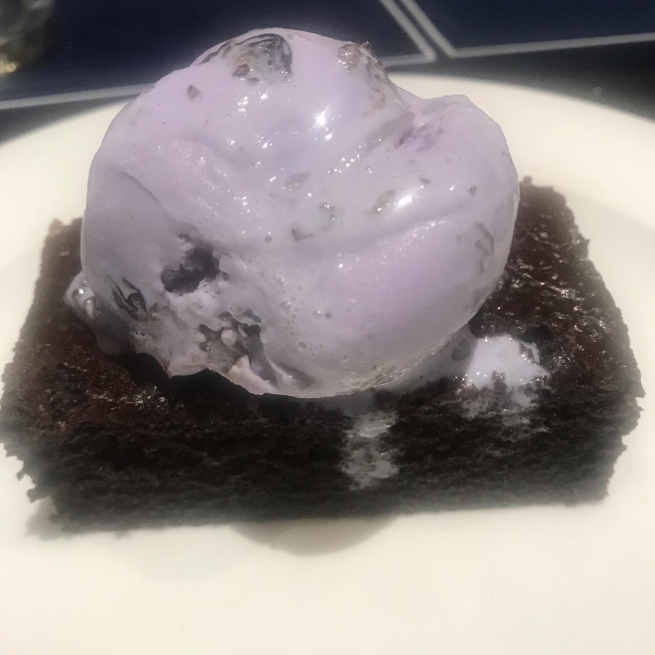 Black Current Ice-Cream on Chocolate Brownie