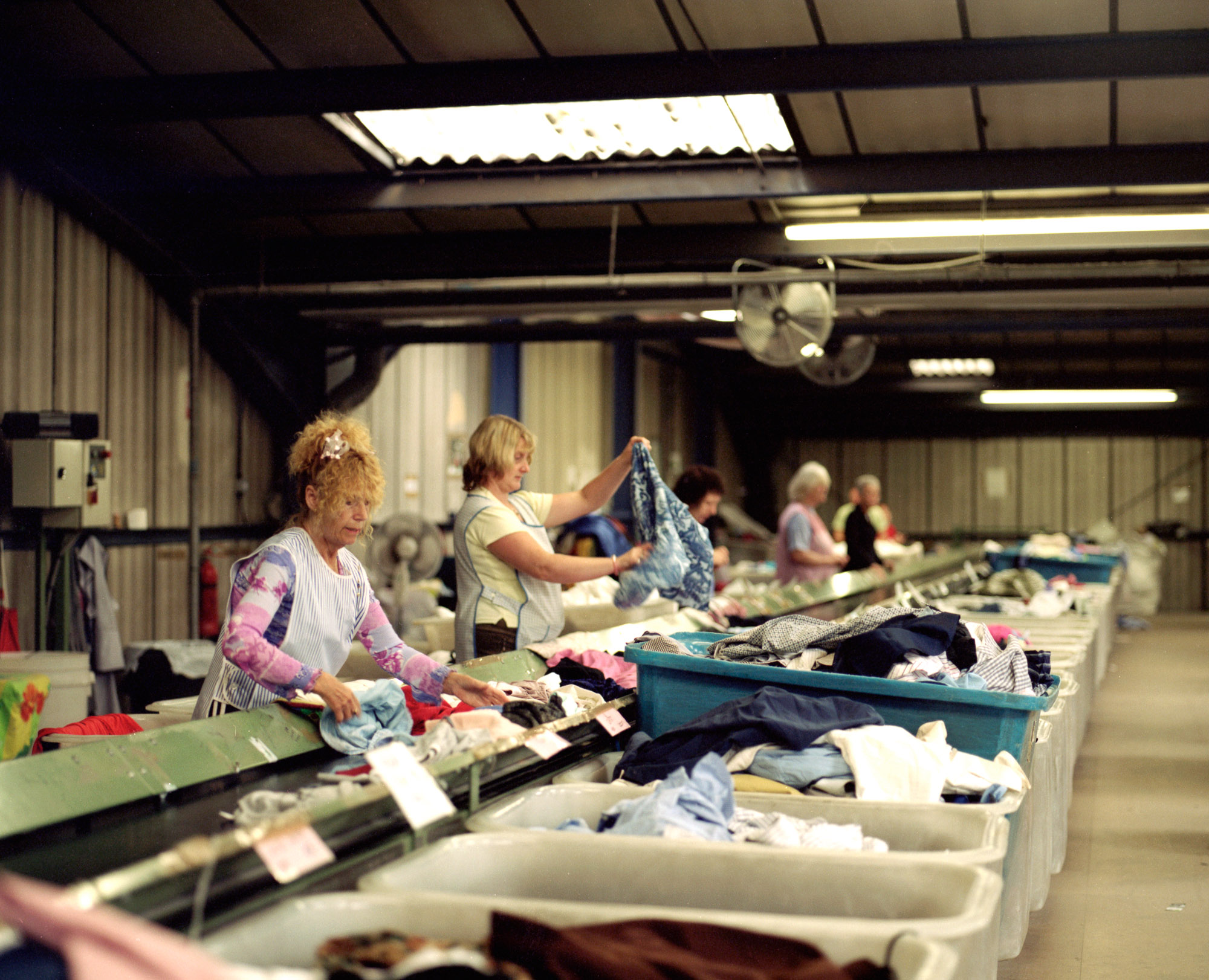 Over half a million tonnes of cast-offs are collected annually, of which only  about 20% is reused in the UK. Clothes are sorted and graded into categories  based on garment style, fabric, weight and colour depending on the current demands of the various markets.