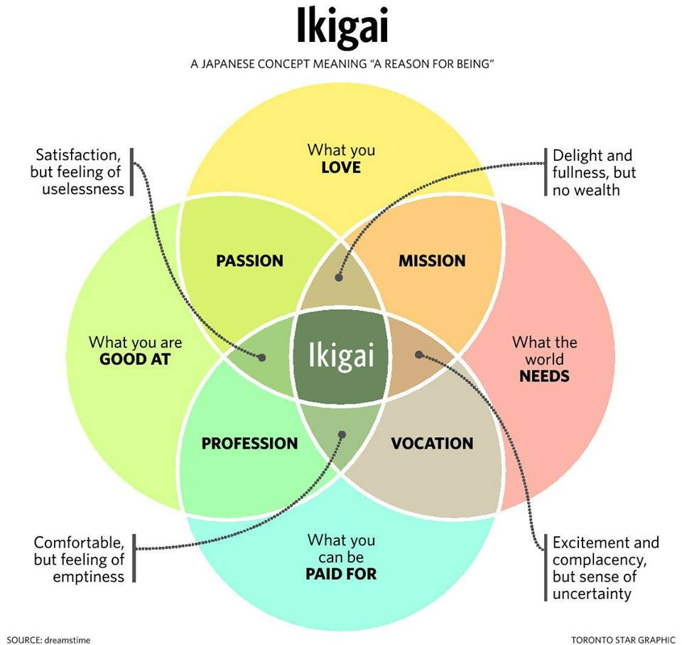 """Ikigai (生き甲斐) is a Japanese concept meaning """"a reason for being."""" Everyone, according to the Japanese, has an ikigai. Finding it requires a deep and often lengthy search of self-discovery and reflection. - Click For More"""
