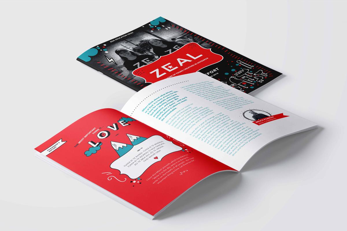 Zeal Annual Report  Print Design, Illustration