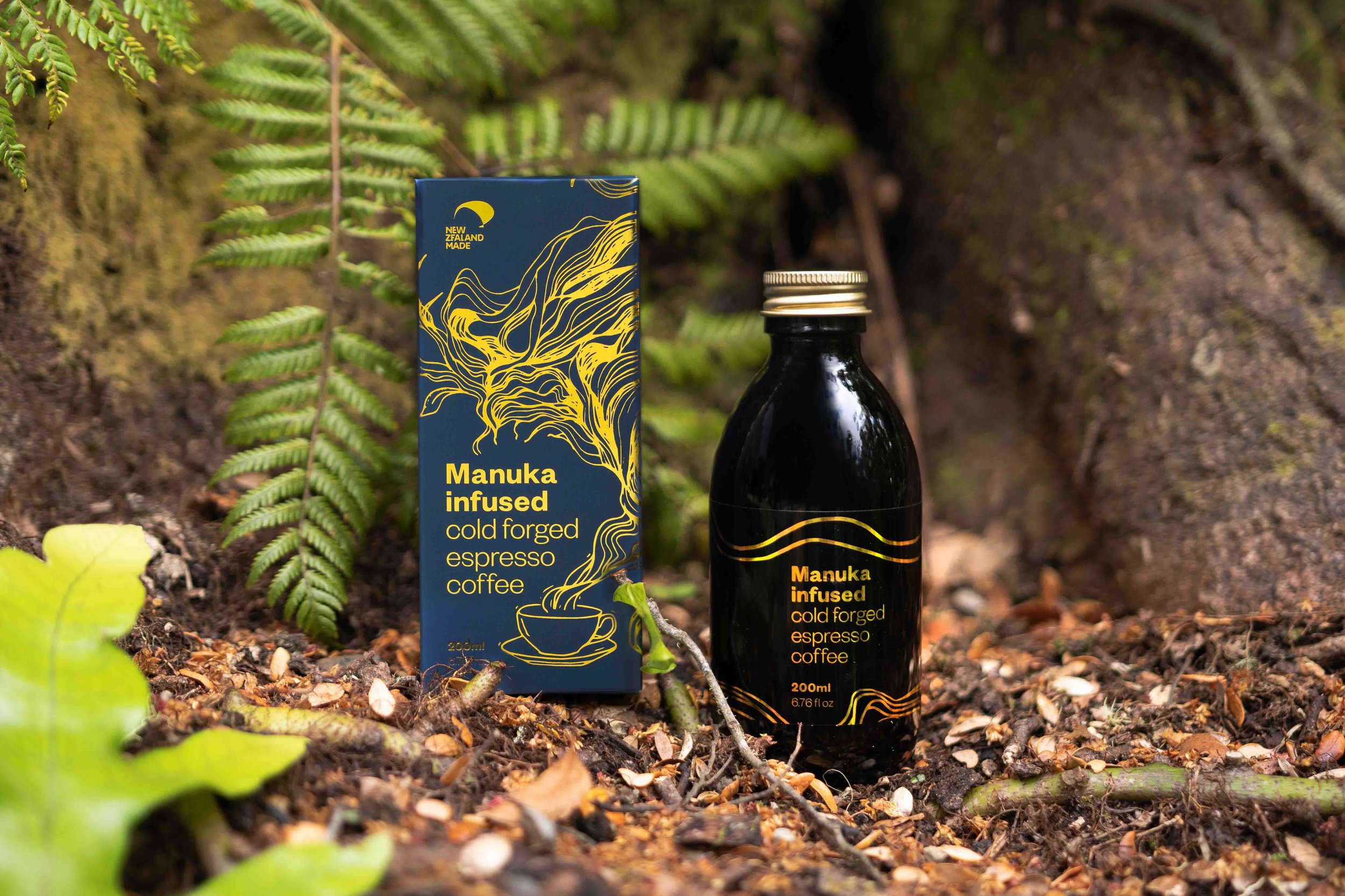 Manuka Infused Cold Brew Coffee  Packaging, Illustration, Collateral