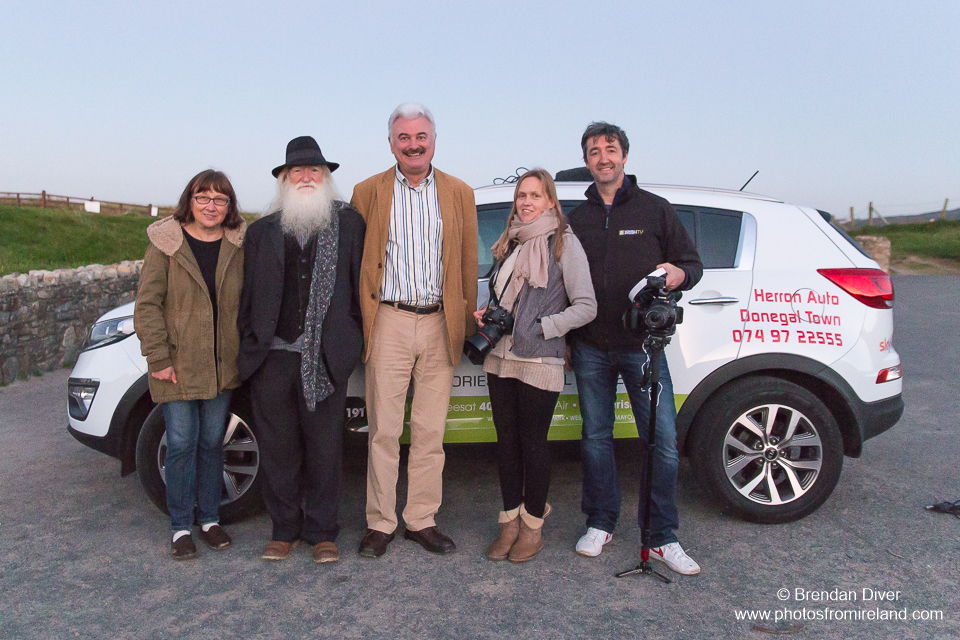 Left to right Inessa K Mjalenkova (translator for Elena Shumilova) Sean McLaughlin (Model on workshop) Irish TV presenter Frank Galligan, Elena Shumilova and Brendan Bradas O'Donnell (Cameraman / Director / Producer )