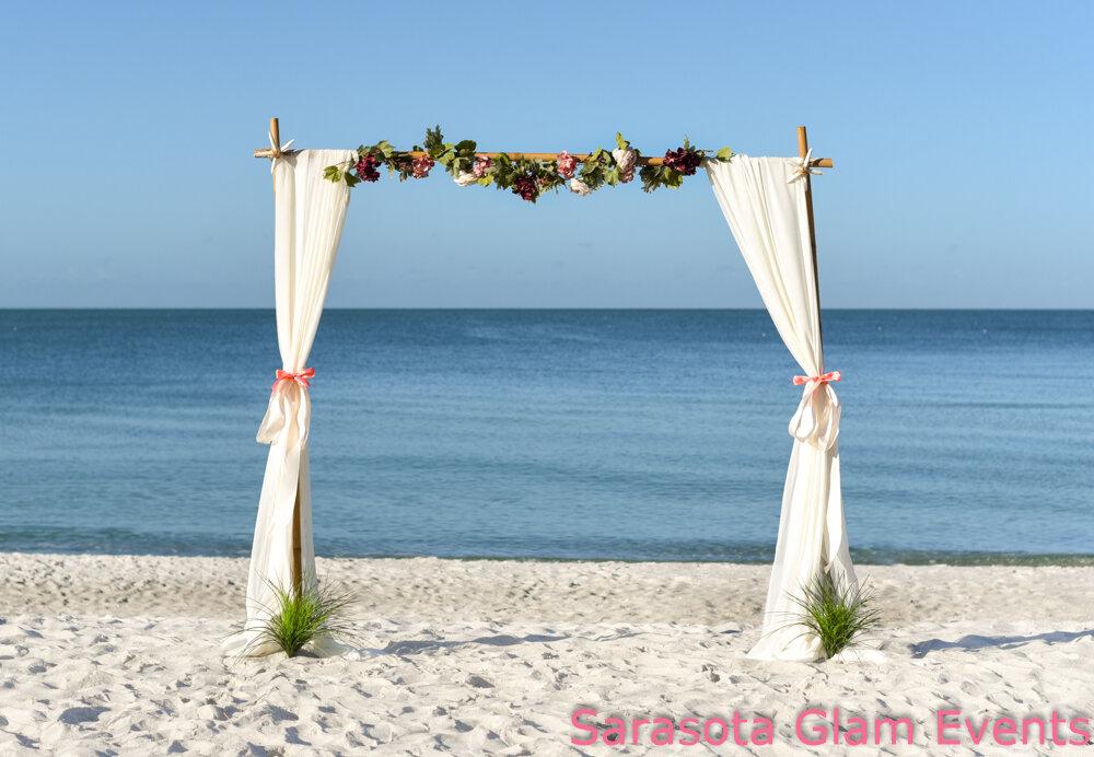 Siesta Key beach wedding set-up